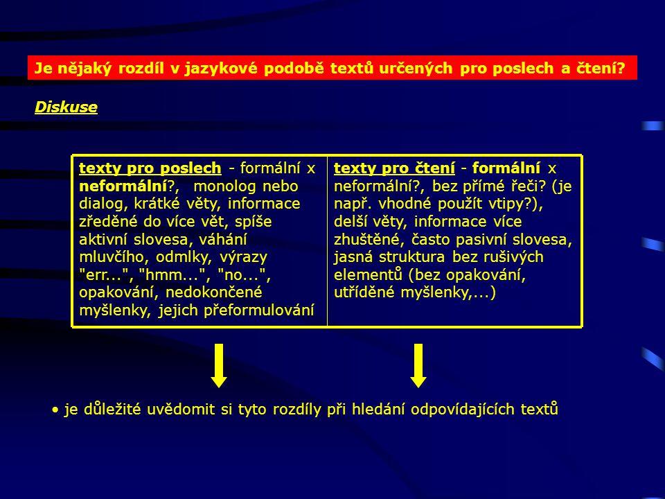 Je nějaký rozdíl v jazykové podobě textů určených pro poslech a čtení.