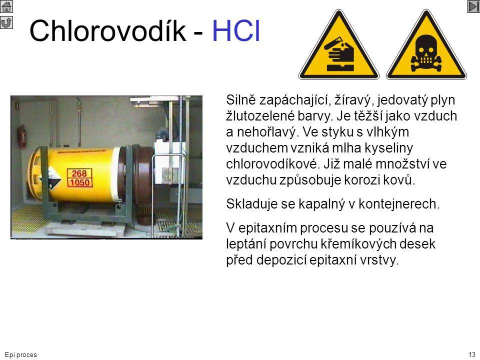 Epi proces13 Chlorovodík - HCl Silně zapáchající, žíravý, jedovatý plyn žlutozelené barvy. Je těžší jako vzduch a nehořlavý. Ve styku s vlhkým vzduche