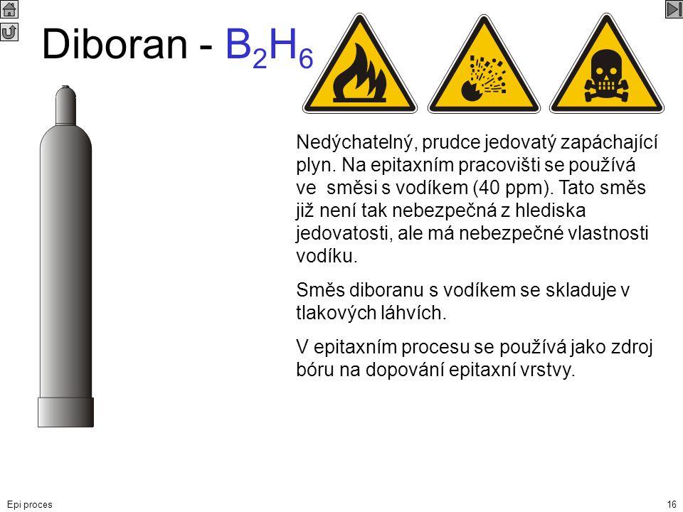 Epi proces16 Diboran - B 2 H 6 Nedýchatelný, prudce jedovatý zapáchající plyn. Na epitaxním pracovišti se používá ve směsi s vodíkem (40 ppm). Tato sm