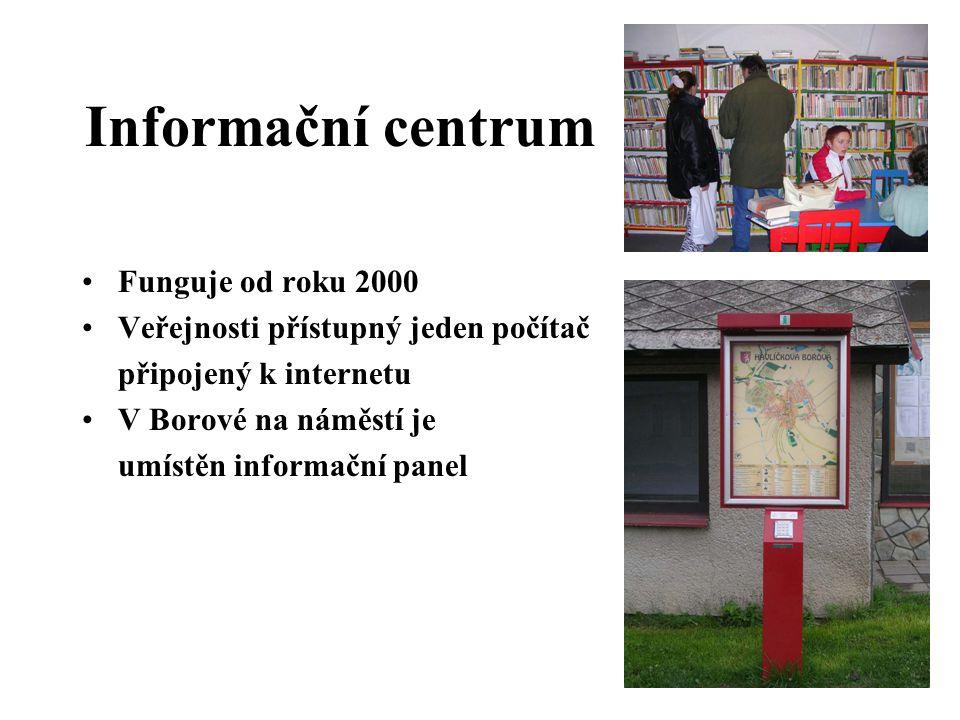 Informační centrum •Funguje od roku 2000 •Veřejnosti přístupný jeden počítač připojený k internetu •V Borové na náměstí je umístěn informační panel