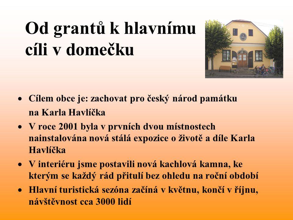 Od grantů k hlavnímu cíli v domečku  Cílem obce je: zachovat pro český národ památku na Karla Havlíčka  V roce 2001 byla v prvních dvou místnostech nainstalována nová stálá expozice o životě a díle Karla Havlíčka  V interiéru jsme postavili nová kachlová kamna, ke kterým se každý rád přitulí bez ohledu na roční období  Hlavní turistická sezóna začíná v květnu, končí v říjnu, návštěvnost cca 3000 lidí