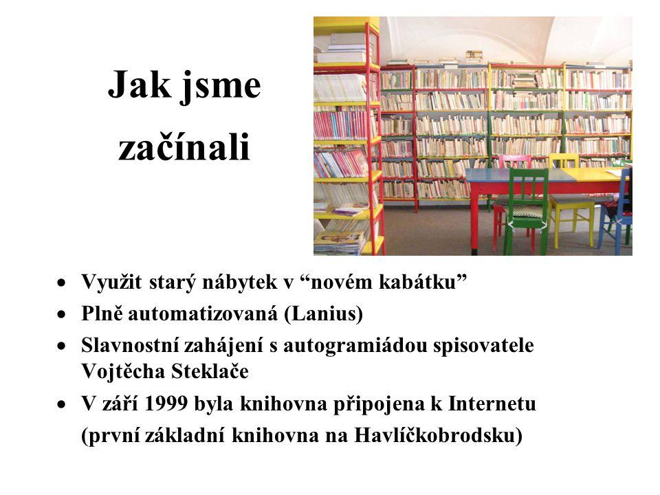 Jak jsme začínali  Využit starý nábytek v novém kabátku  Plně automatizovaná (Lanius)  Slavnostní zahájení s autogramiádou spisovatele Vojtěcha Steklače  V září 1999 byla knihovna připojena k Internetu (první základní knihovna na Havlíčkobrodsku)