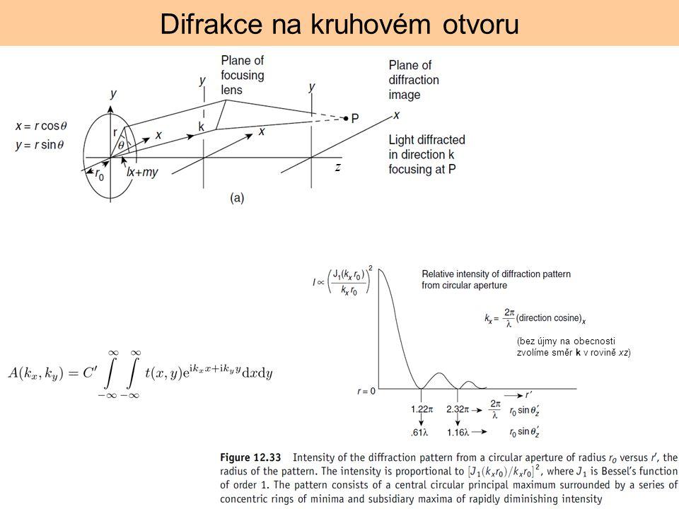 Difrakce na kruhovém otvoru (bez újmy na obecnosti zvolíme směr k v rovině xz) z