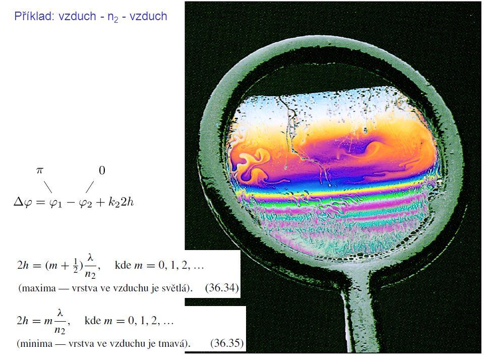 Příklad: sklo - vzduch - sklo (Newtonovy kroužky)
