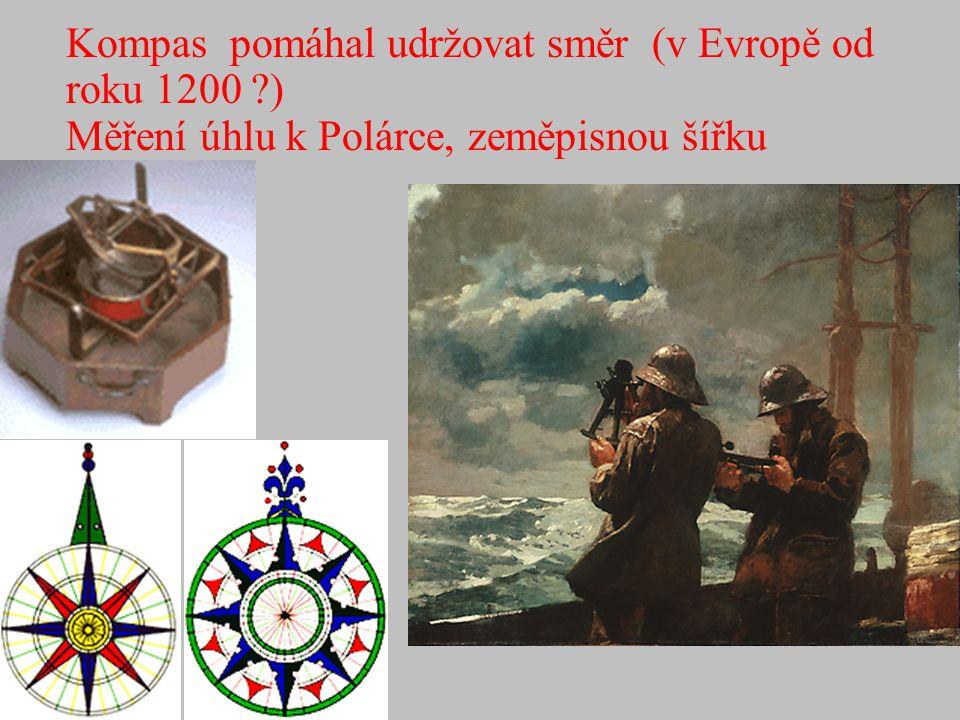 Kompas pomáhal udržovat směr (v Evropě od roku 1200 ?) Měření úhlu k Polárce, zeměpisnou šířku