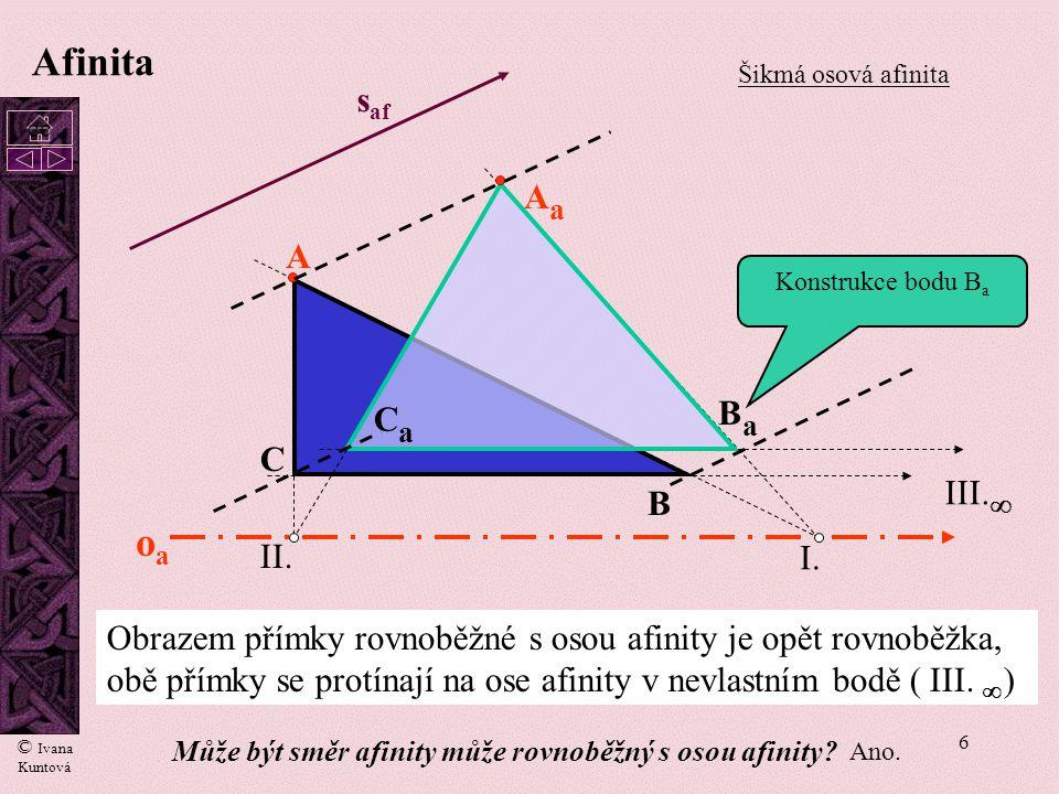 6 oaoa I. II. A B C AaAa BaBa III.  s af CaCa Afinita Šikmá osová afinita Obrazem přímky rovnoběžné s osou afinity je opět rovnoběžka, obě přímky se