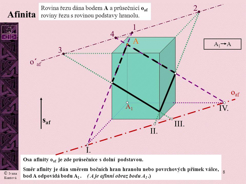 8 Afinita Osa afinity o af je zde průsečnice s dolní podstavou. Směr afinity je dán směrem bočních hran hranolu nebo povrchových přímek válce, bod A o