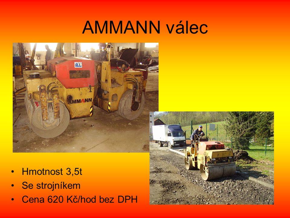 AMMANN válec •Hmotnost 3,5t •Se strojníkem •Cena 620 Kč/hod bez DPH