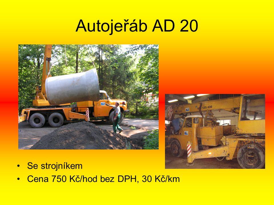 Autojeřáb AD 20 •Se strojníkem •Cena 750 Kč/hod bez DPH, 30 Kč/km