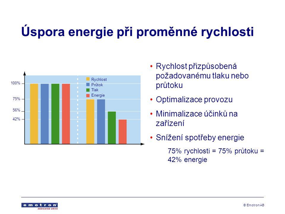 © Emotron AB Úspora energie při proměnné rychlosti •Rychlost přizpůsobená požadovanému tlaku nebo průtoku •Optimalizace provozu •Minimalizace účinků na zařízení •Snížení spotřeby energie 75% rychlosti = 75% průtoku = 42% energie Rychlost Průtok Tlak Energie 100% 75% 56% 42%