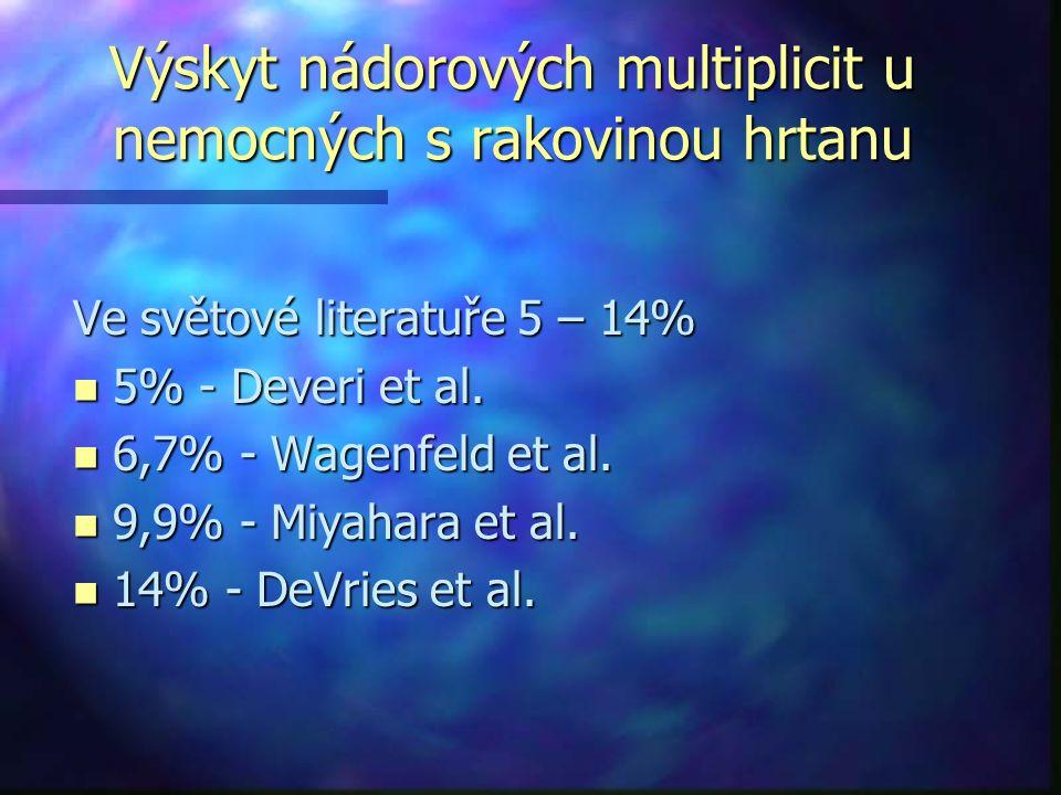 Výskyt nádorových multiplicit u nemocných s rakovinou hrtanu Ve světové literatuře 5 – 14% n 5% - Deveri et al.