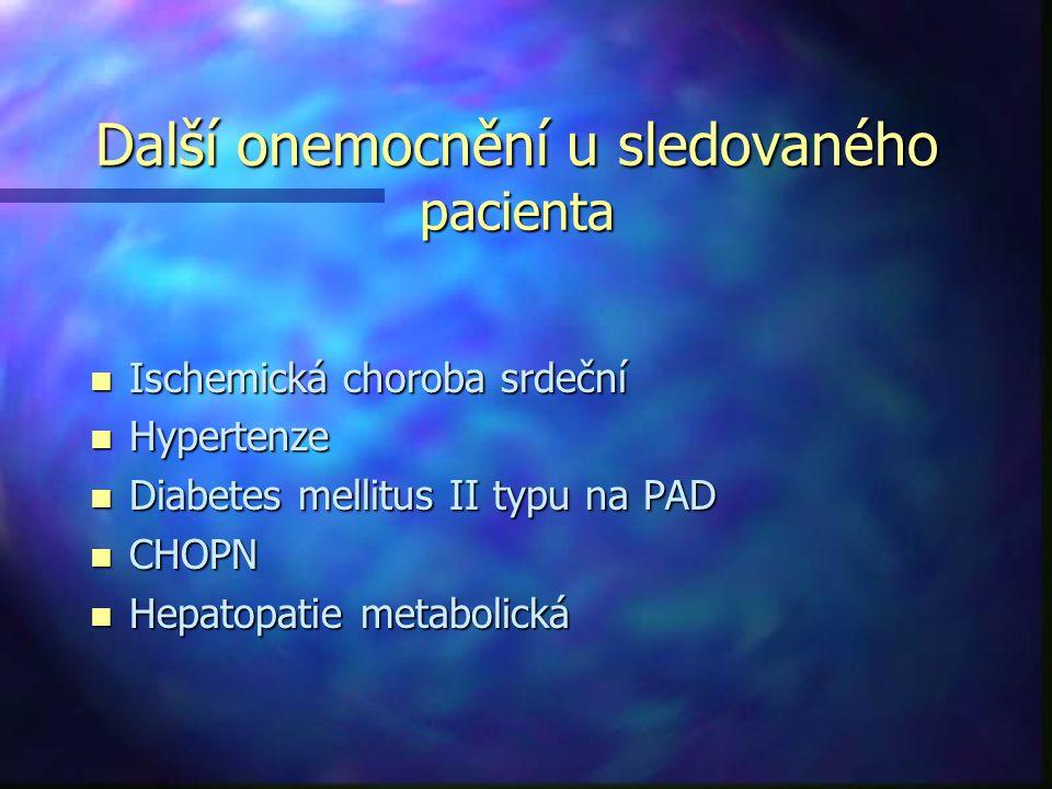 Další onemocnění u sledovaného pacienta n Ischemická choroba srdeční n Hypertenze n Diabetes mellitus II typu na PAD n CHOPN n Hepatopatie metabolická