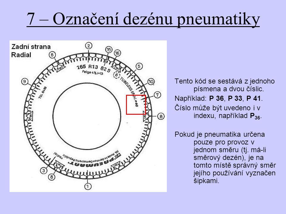 7 – Označení dezénu pneumatiky Tento kód se sestává z jednoho písmena a dvou číslic.