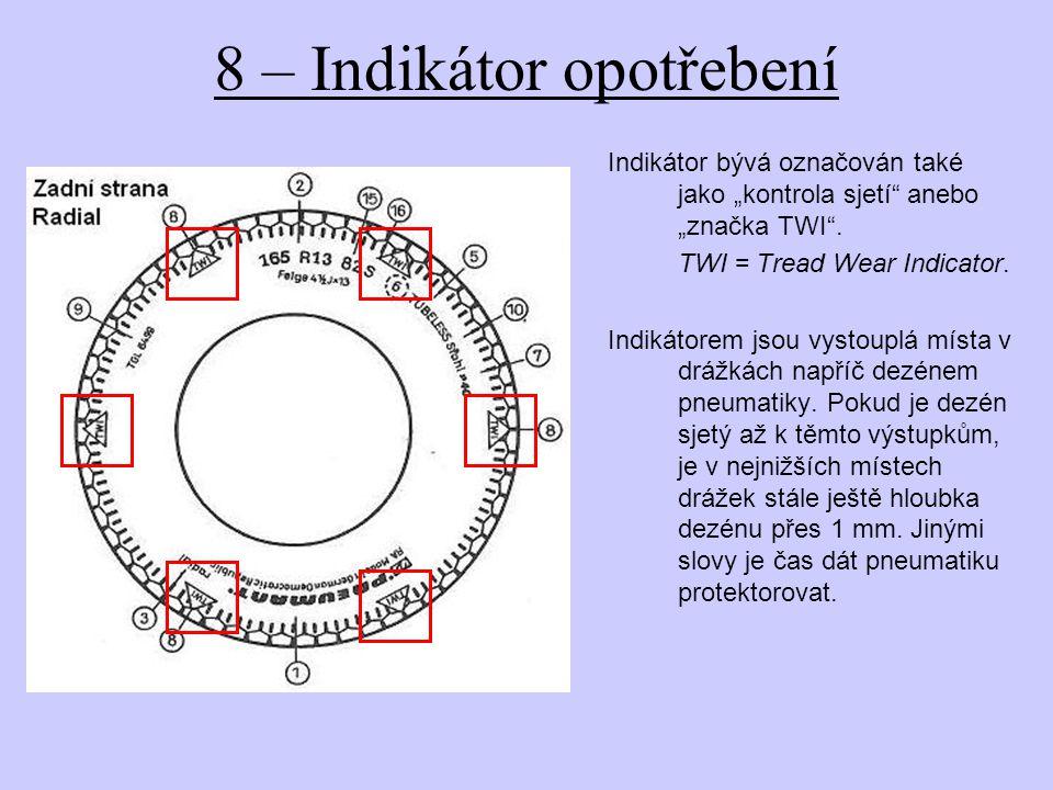"""8 – Indikátor opotřebení Indikátor bývá označován také jako """"kontrola sjetí"""" anebo """"značka TWI"""". TWI = Tread Wear Indicator. Indikátorem jsou vystoupl"""