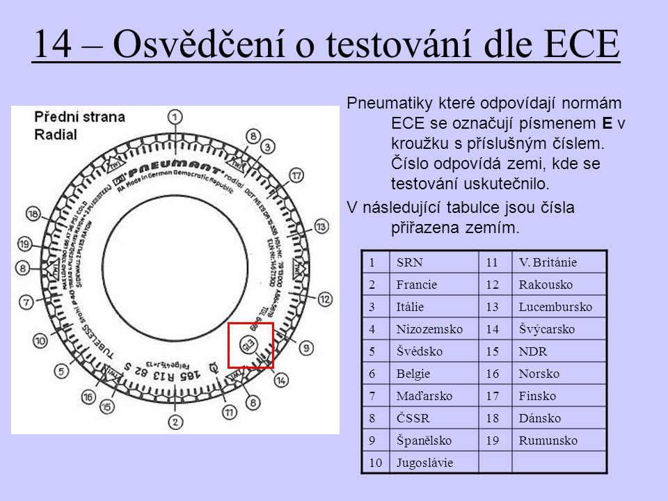 14 – Osvědčení o testování dle ECE Pneumatiky které odpovídají normám ECE se označují písmenem E v kroužku s příslušným číslem. Číslo odpovídá zemi, k