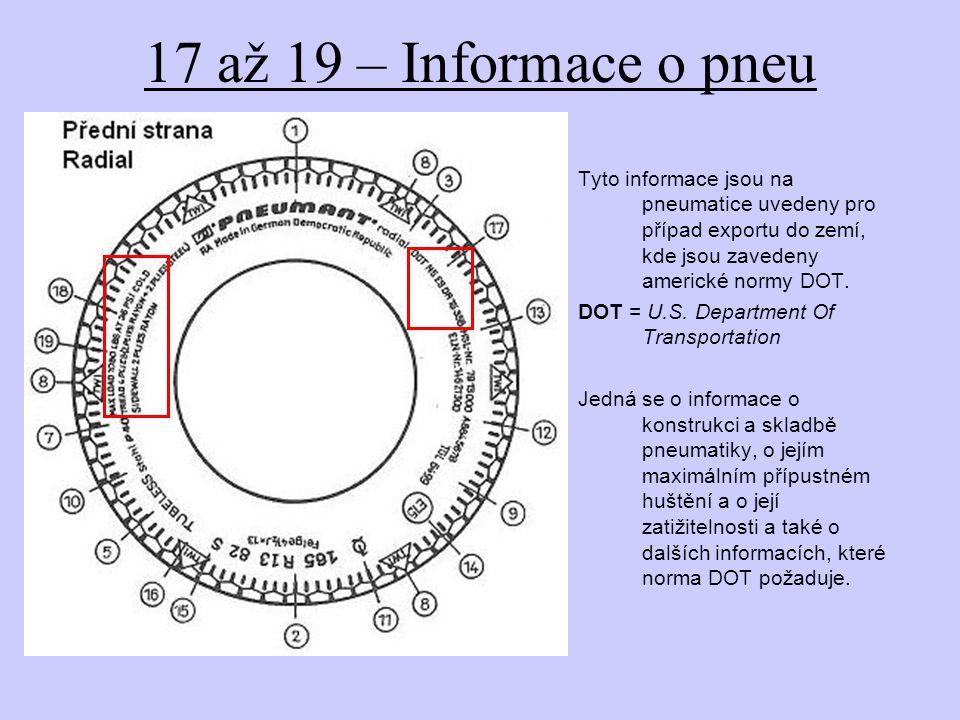 17 až 19 – Informace o pneu Tyto informace jsou na pneumatice uvedeny pro případ exportu do zemí, kde jsou zavedeny americké normy DOT. DOT = U.S. Dep