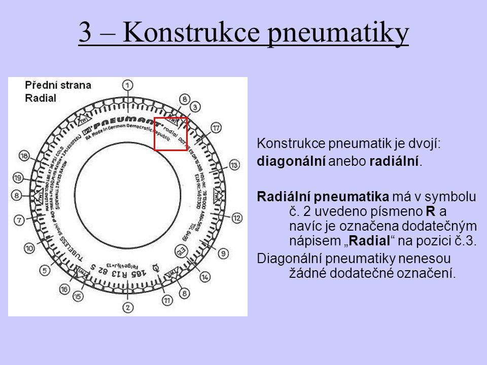 4 – Zatižitelnost pneumatiky Existují pneumatiky shodných rozměrů, ovšem s jinou zatižitelností.
