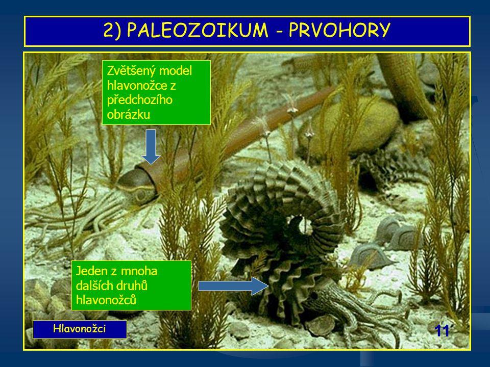 2) PALEOZOIKUM - PRVOHORY Hlavonožci 11 Jeden z mnoha dalších druhů hlavonožců Zvětšený model hlavonožce z předchozího obrázku