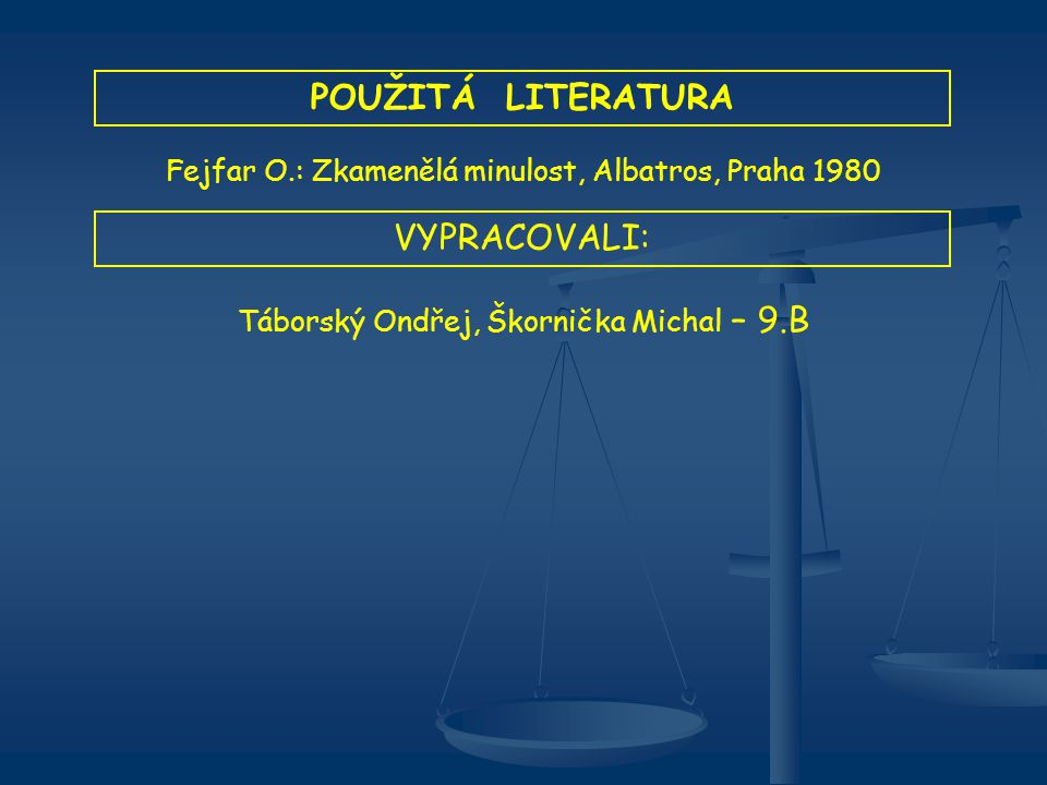 POUŽITÁ LITERATURA Fejfar O.: Zkamenělá minulost, Albatros, Praha 1980 VYPRACOVALI: Táborský Ondřej, Škornička Michal – 9.B