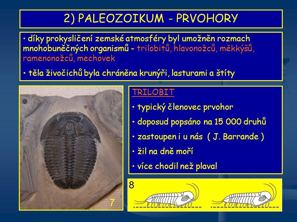 2) PALEOZOIKUM - PRVOHORY Různé druhy trilobitů 9 1.druh 2.druh 3.druh