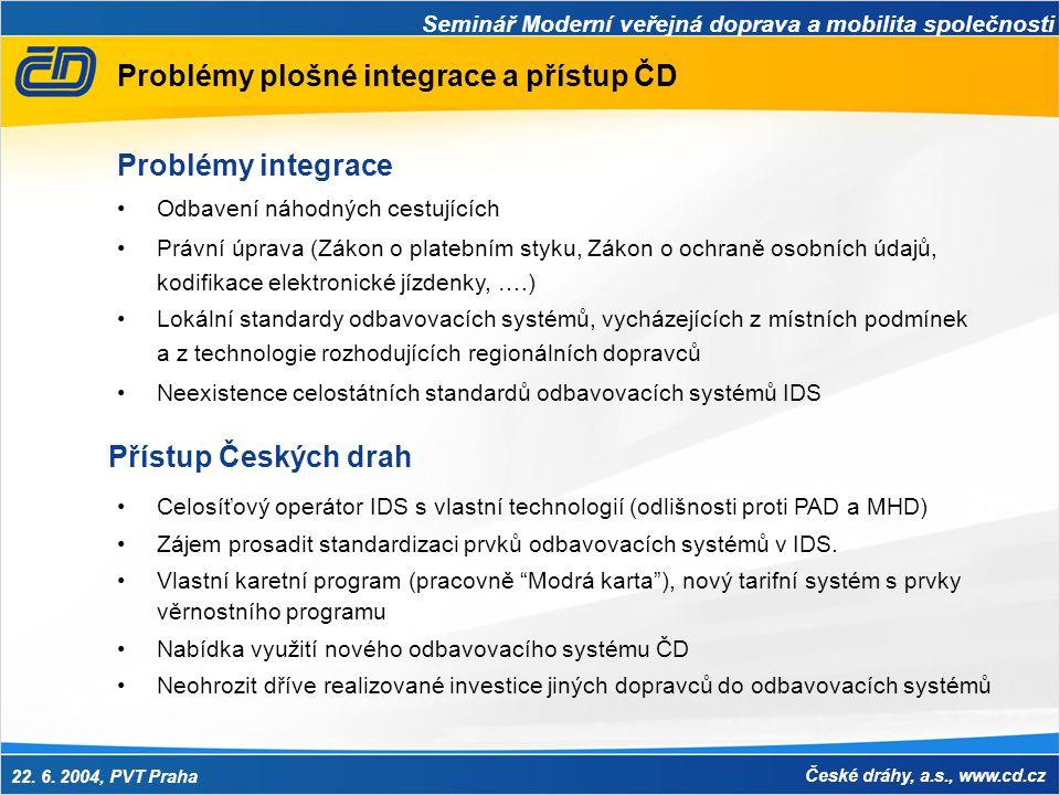 Seminář Moderní veřejná doprava a mobilita společnosti 22. 6. 2004, PVT Praha České dráhy, a.s., www.cd.cz Problémy plošné integrace a přístup ČD •Odb