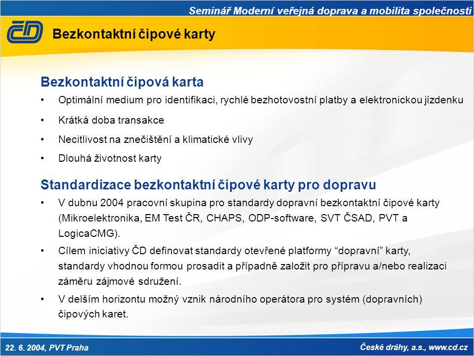 Seminář Moderní veřejná doprava a mobilita společnosti 22. 6. 2004, PVT Praha České dráhy, a.s., www.cd.cz Bezkontaktní čipové karty Bezkontaktní čipo