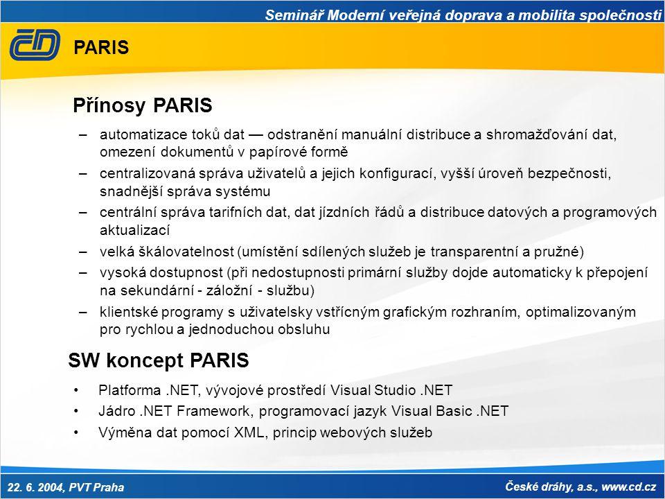 Seminář Moderní veřejná doprava a mobilita společnosti 22. 6. 2004, PVT Praha České dráhy, a.s., www.cd.cz PARIS –automatizace toků dat — odstranění m