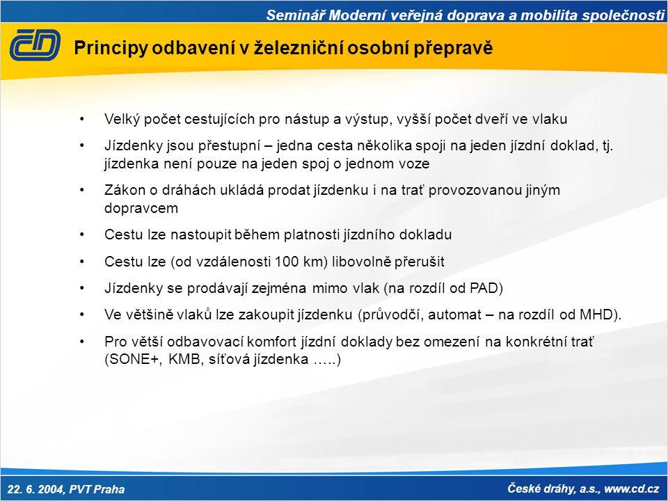 Seminář Moderní veřejná doprava a mobilita společnosti 22. 6. 2004, PVT Praha České dráhy, a.s., www.cd.cz Principy odbavení v železniční osobní přepr