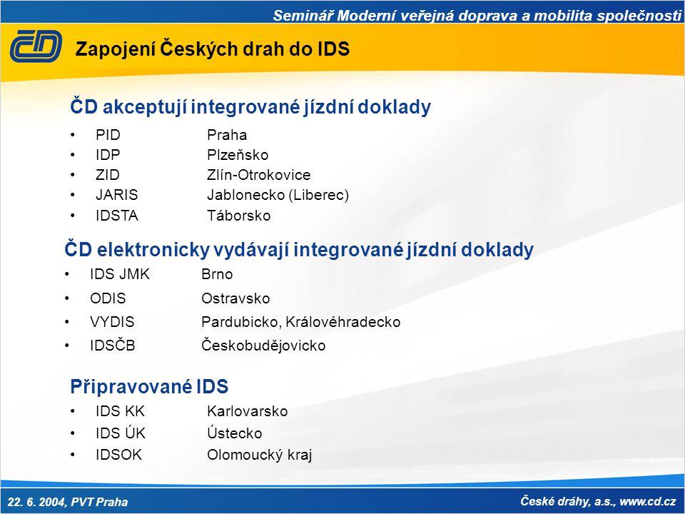 Seminář Moderní veřejná doprava a mobilita společnosti 22. 6. 2004, PVT Praha České dráhy, a.s., www.cd.cz Zapojení Českých drah do IDS ČD elektronick