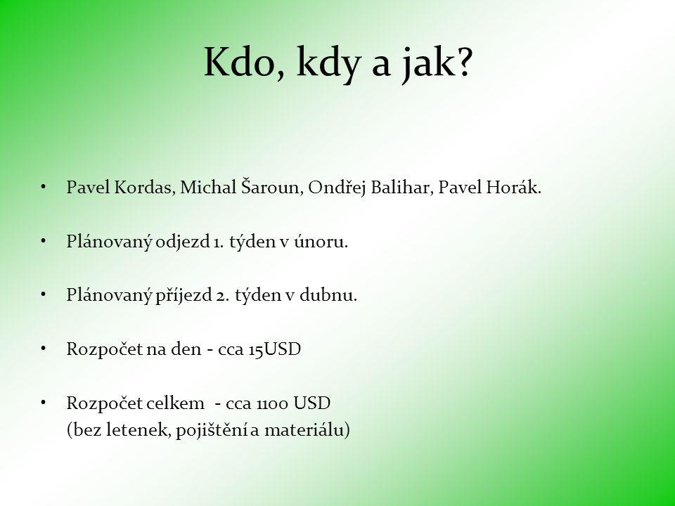 Kdo, kdy a jak.•Pavel Kordas, Michal Šaroun, Ondřej Balihar, Pavel Horák.