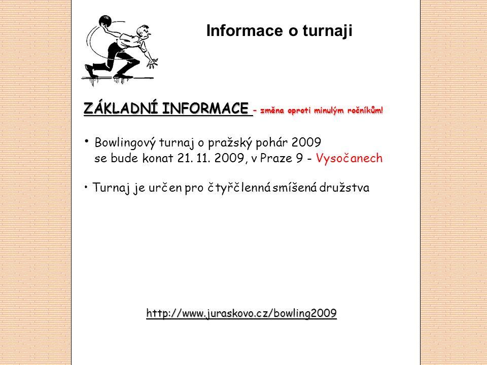 Informace o turnaji ZÁKLADNÍ INFORMACE – změna oproti minulým ročníkům! • Bowlingový turnaj o pražský pohár 2009 se bude konat 21. 11. 2009, v Praze 9