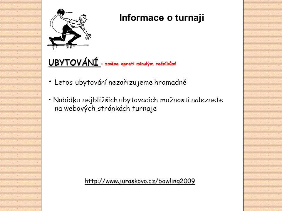 Informace o turnaji BOWLINGOVÁ HERNA – změna oproti minulým ročníkům.