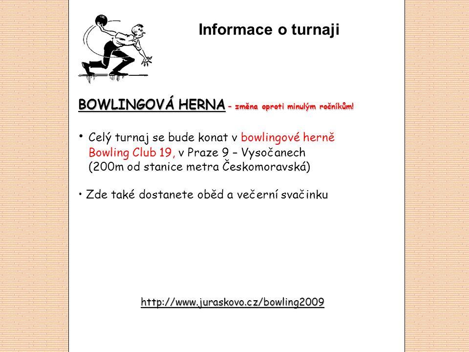 Informace o turnaji BOWLINGOVÁ HERNA – změna oproti minulým ročníkům! • Celý turnaj se bude konat v bowlingové herně Bowling Club 19, v Praze 9 – Vyso