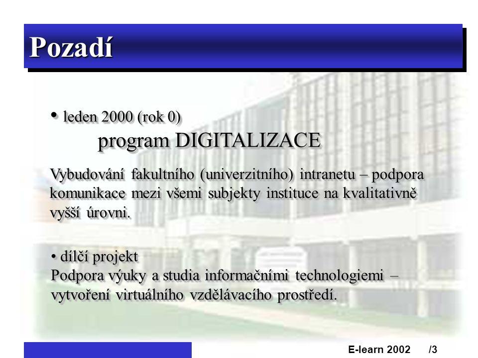 PozadíPozadí • leden 2000 (rok 0) program DIGITALIZACE • leden 2000 (rok 0) program DIGITALIZACE Vybudování fakultního (univerzitního) intranetu – podpora komunikace mezi všemi subjekty instituce na kvalitativně vyšší úrovni.