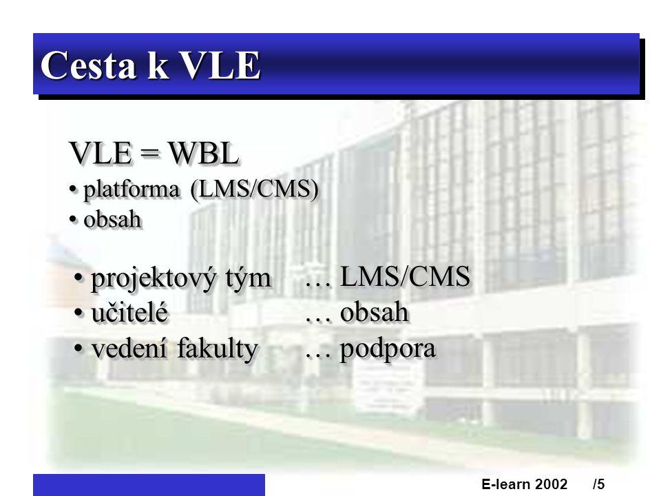 Cesta k VLE VLE = WBL • platforma (LMS/CMS) • obsah VLE = WBL • platforma (LMS/CMS) • obsah • projektový tým • učitelé • vedení fakulty • projektový tým • učitelé • vedení fakulty E-learn 2002 /5 … LMS/CMS … obsah … podpora … LMS/CMS … obsah … podpora