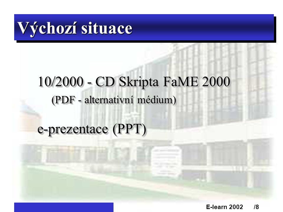 Výchozí situace 10/2000 - CD Skripta FaME 2000 (PDF - alternativní médium) e-prezentace (PPT) 10/2000 - CD Skripta FaME 2000 (PDF - alternativní médium) e-prezentace (PPT) E-learn 2002 /8