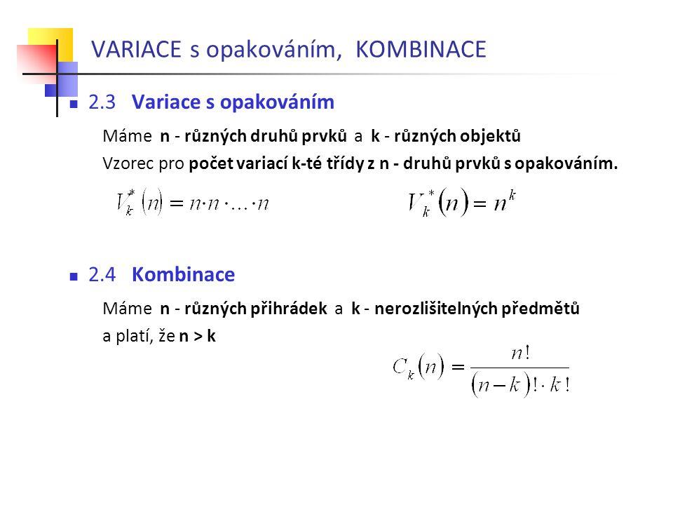 VARIACE s opakováním, KOMBINACE  2.3 Variace s opakováním Máme n - různých druhů prvků a k - různých objektů Vzorec pro počet variací k-té třídy z n