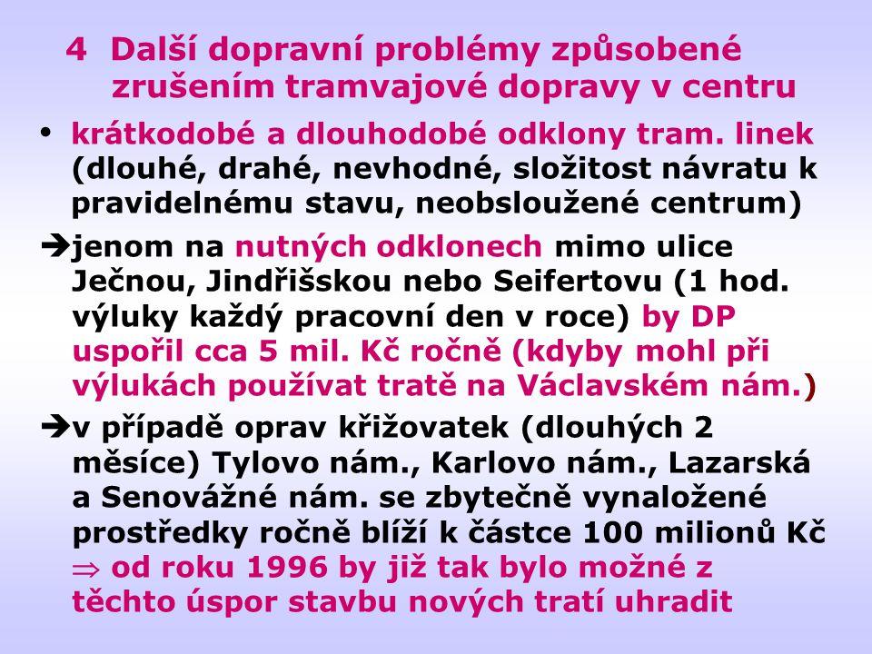 4 Další dopravní problémy způsobené zrušením tramvajové dopravy v centru  jenom na nutných odklonech mimo ulice Ječnou, Jindřišskou nebo Seifertovu (1 hod.
