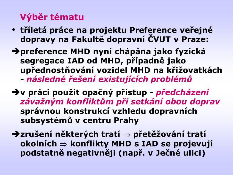 Výběr tématu  v práci použit opačný přístup - předcházení závažným konfliktům při setkání obou doprav správnou konstrukcí vzhledu dopravních subsystémů v centru Prahy  zrušení některých tratí  přetěžování tratí okolních  konflikty MHD s IAD se projevují podstatně negativněji (např.