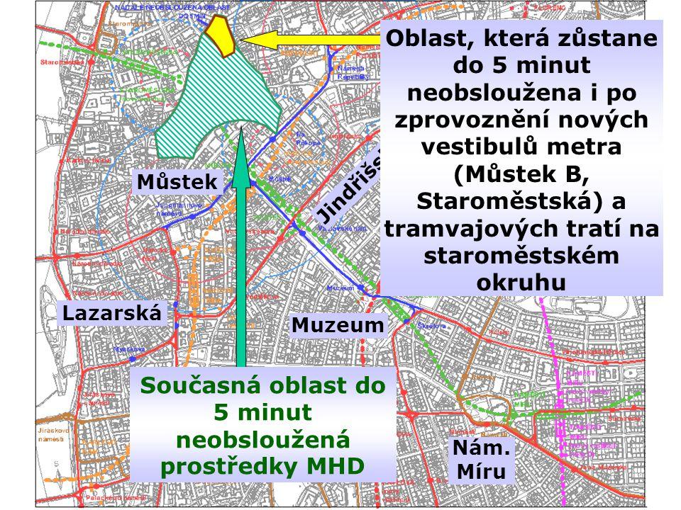 Současná oblast do 5 minut neobsloužená prostředky MHD Můstek Nám.