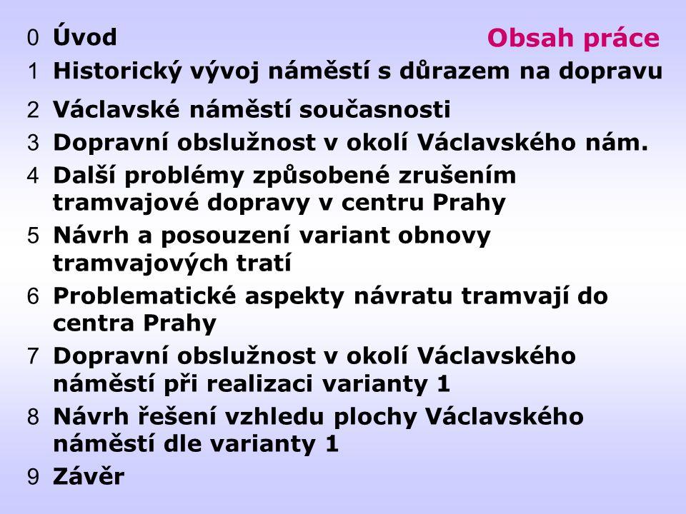 Obsah práce 2 Václavské náměstí současnosti 3 Dopravní obslužnost v okolí Václavského nám.