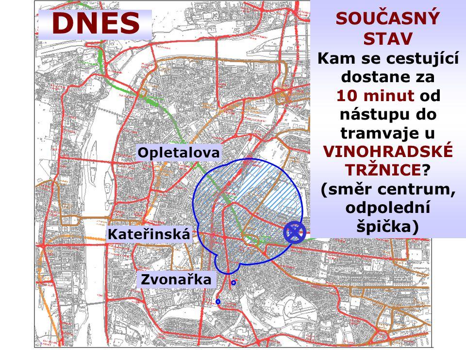 DNES Zvonařka Kateřinská Opletalova SOUČASNÝ STAV Kam se cestující dostane za 10 minut od nástupu do tramvaje u VINOHRADSKÉ TRŽNICE.