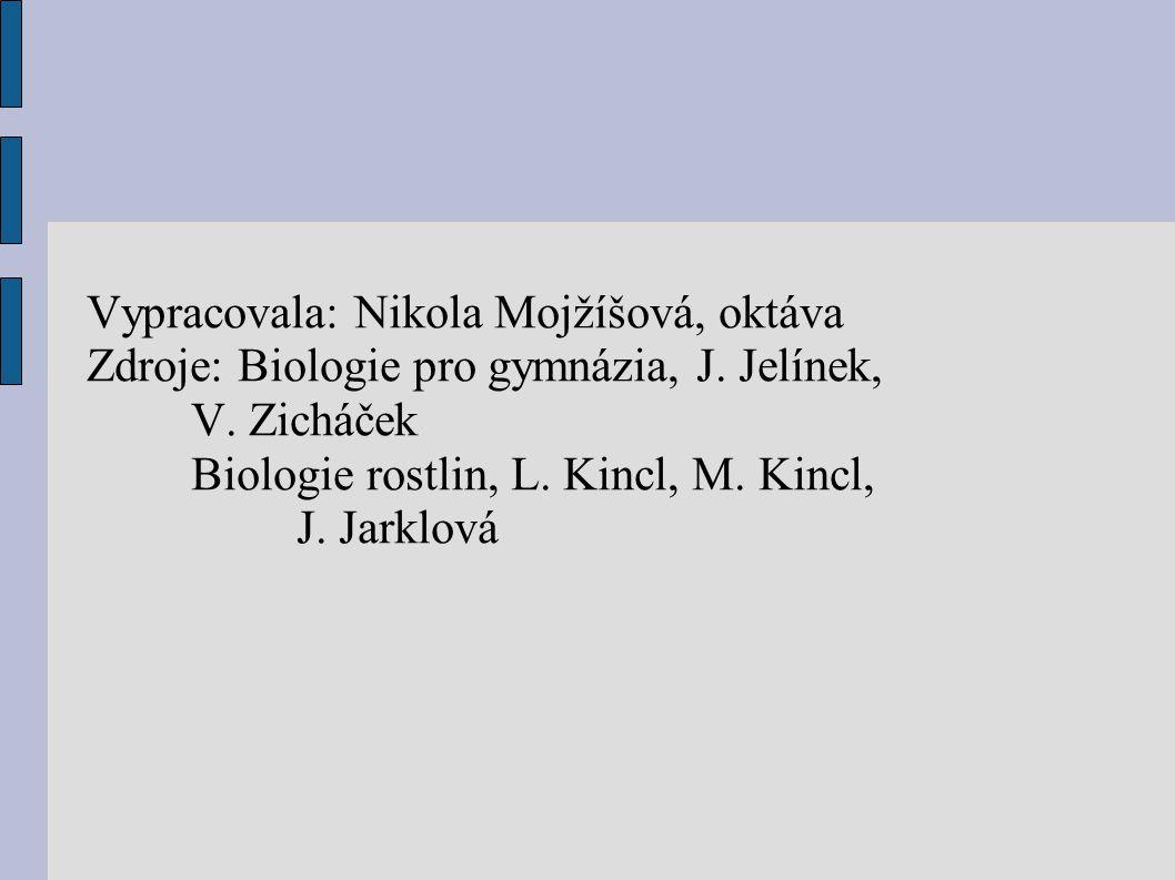 Vypracovala: Nikola Mojžíšová, oktáva Zdroje: Biologie pro gymnázia, J. Jelínek, V. Zicháček Biologie rostlin, L. Kincl, M. Kincl, J. Jarklová