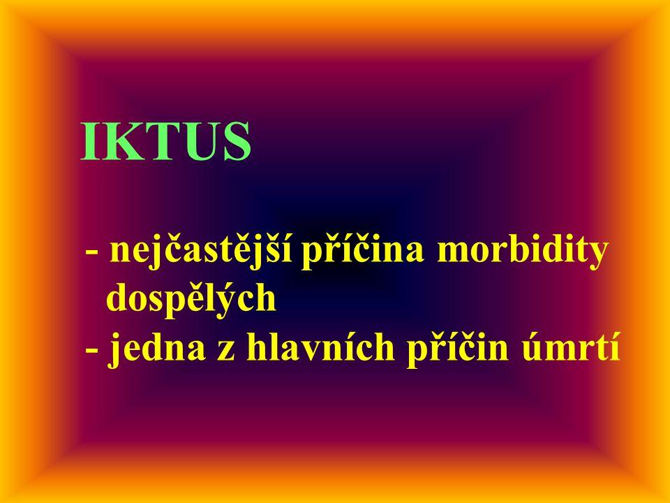 IKTUS - nejčastější příčina morbidity dospělých - jedna z hlavních příčin úmrtí