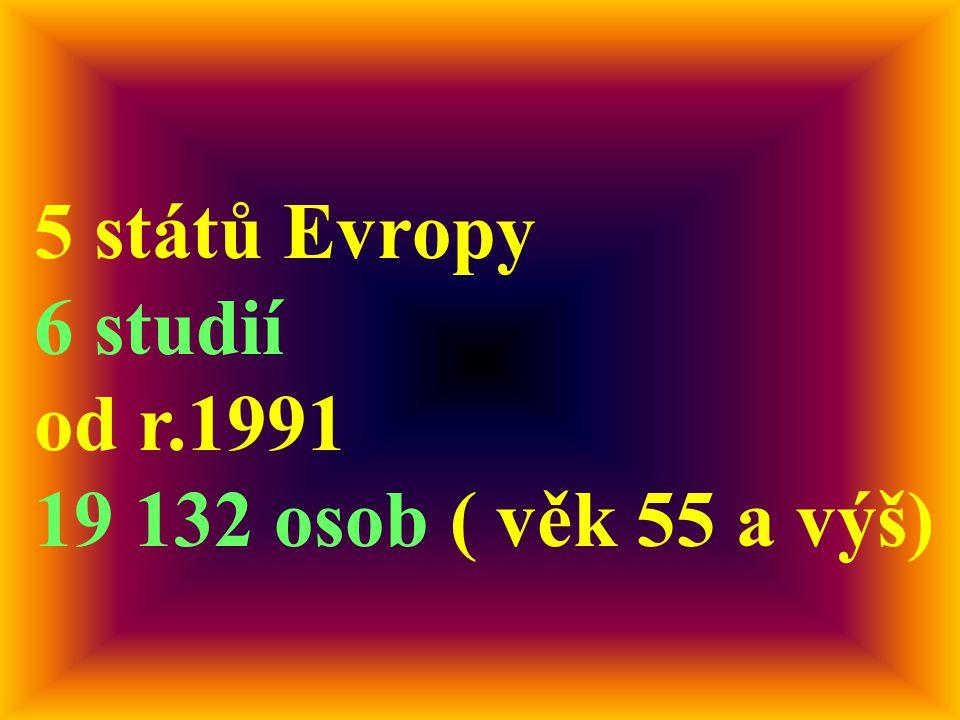 5 států Evropy 6 studií od r.1991 19 132 osob ( věk 55 a výš)