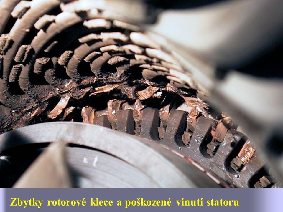Zbytky rotorové klece a poškozené vinutí statoru