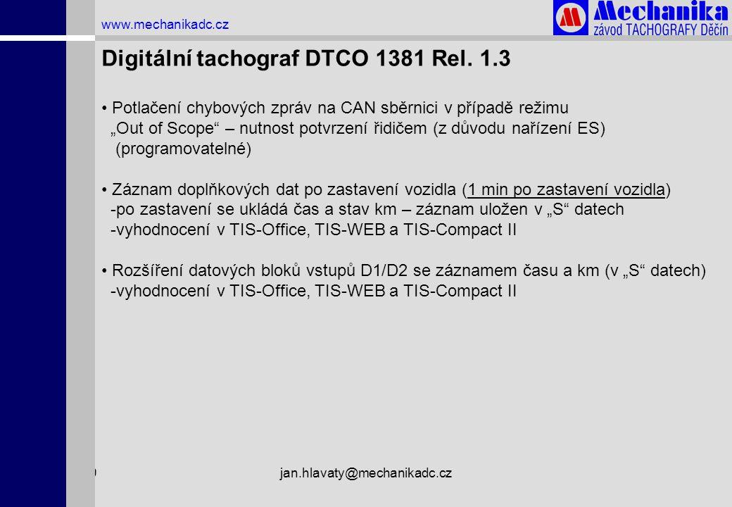 """1.4.2009jan.hlavaty@mechanikadc.cz www.mechanikadc.cz • Potlačení chybových zpráv na CAN sběrnici v případě režimu """"Out of Scope"""" – nutnost potvrzení"""