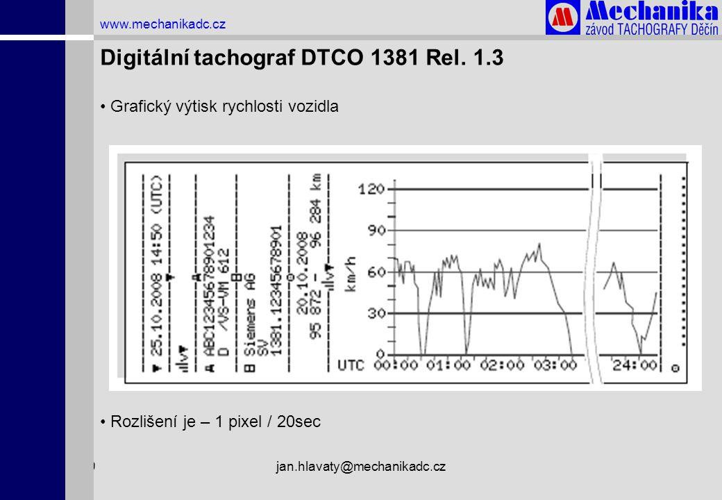 1.4.2009jan.hlavaty@mechanikadc.cz www.mechanikadc.cz Digitální tachograf DTCO 1381 Rel. 1.3 • Grafický výtisk rychlosti vozidla • Rozlišení je – 1 pi