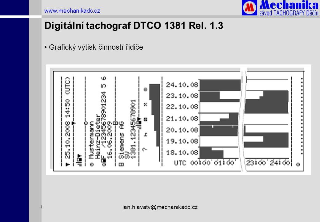 1.4.2009jan.hlavaty@mechanikadc.cz www.mechanikadc.cz Digitální tachograf DTCO 1381 Rel. 1.3 • Grafický výtisk činností řidiče