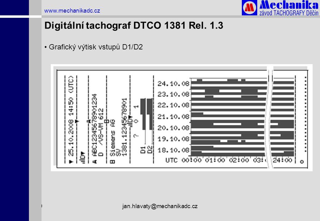 1.4.2009jan.hlavaty@mechanikadc.cz www.mechanikadc.cz Digitální tachograf DTCO 1381 Rel. 1.3 • Grafický výtisk vstupů D1/D2